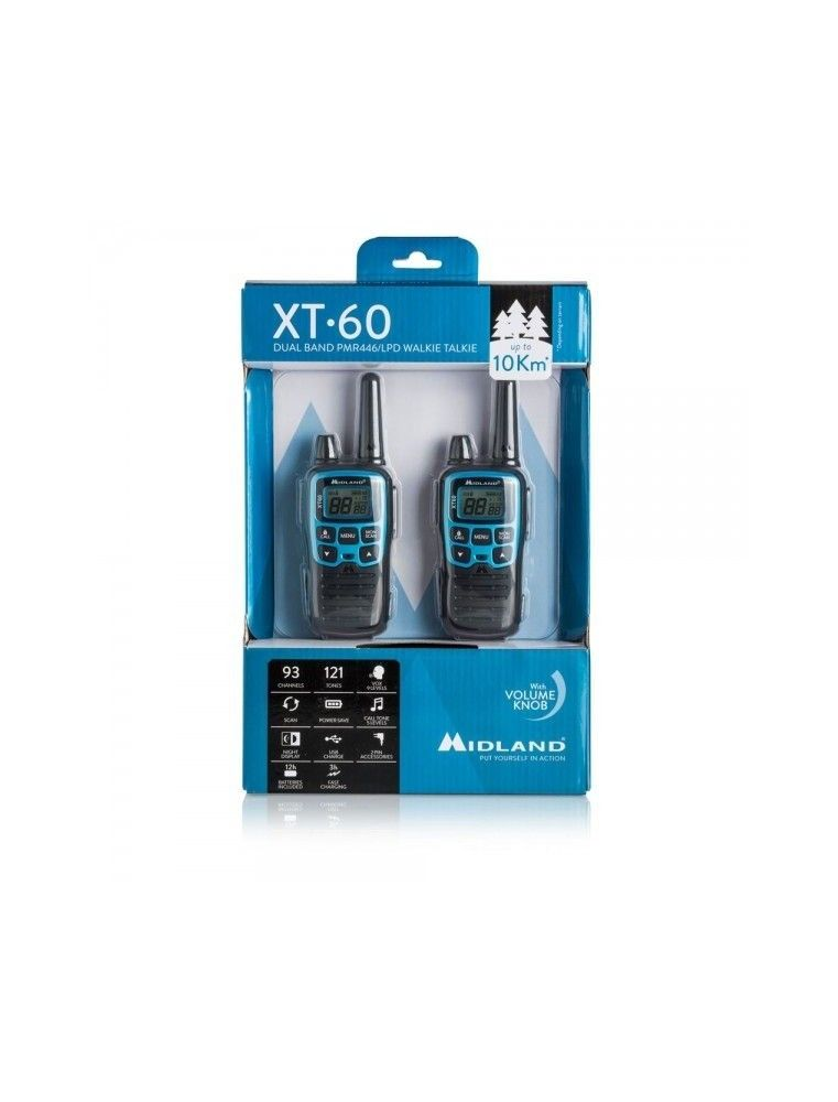 MIDLAND XT 60 PAREJA WALKIE-TALKIE DUAL BAND PMR446/LPD
