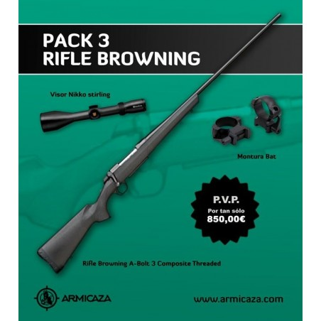 PACK BROWNING A-BOLT 3 COMPOSITE THREADED + MONTURA BAT + VISOR NIKKO STIRLING