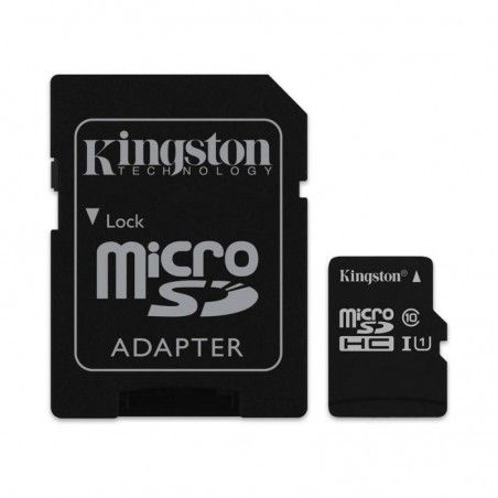 TARJETA MICRO SD + ADAPTADOR KINGSTON 16GB CLASE 10